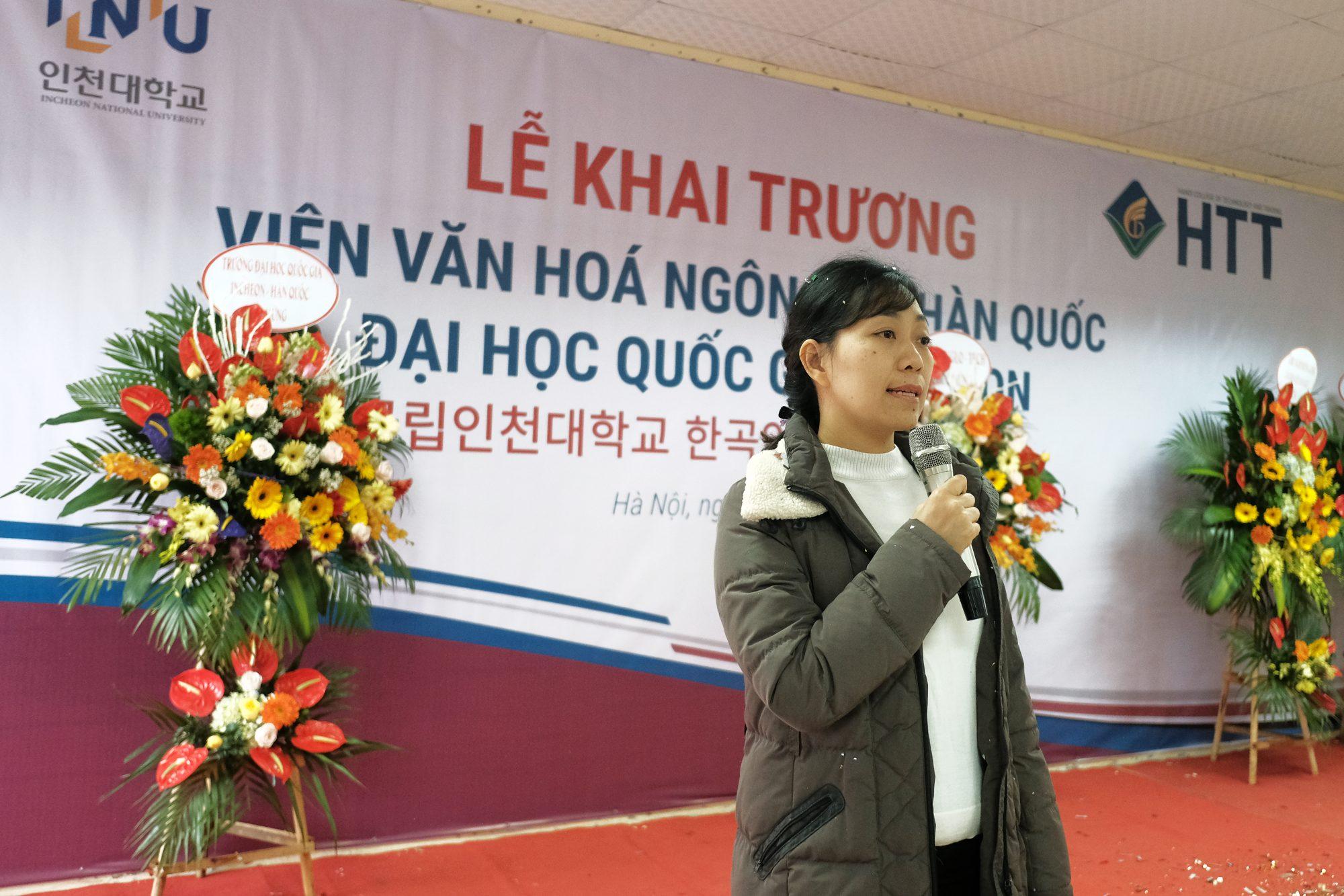 TS. Đoàn Thị Thu Hương - Phó Hiệu trưởng phụ trách đối ngoại phát biểu tại buổi lễ