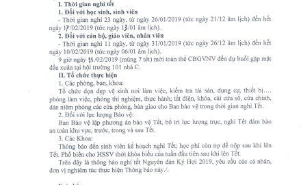 Thông báo VV nghỉ tết Nguyên đán Kỷ Hợi 2019