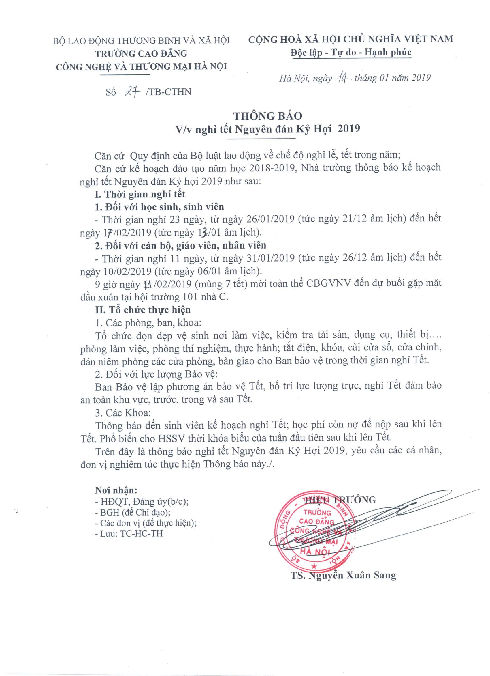 TB VV nghỉ tết Nguyên đán Kỷ Hợi năm 2019,-1