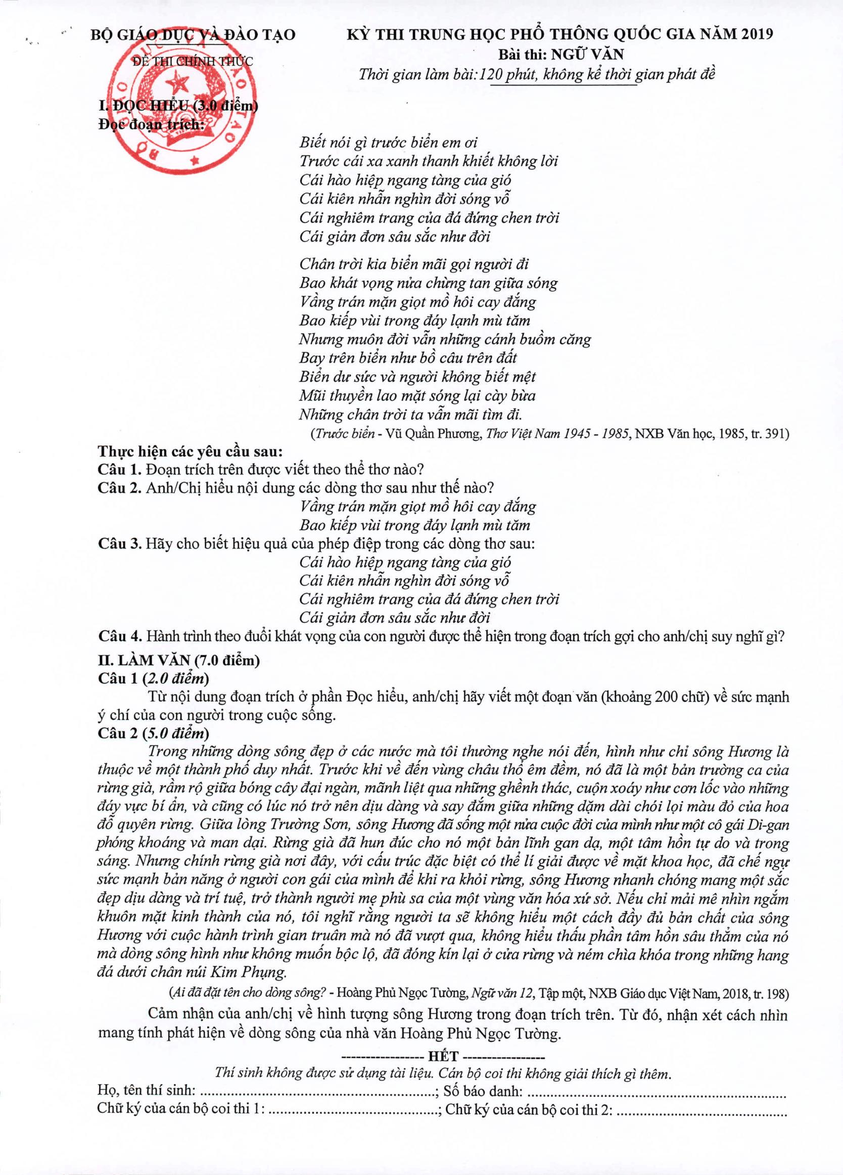 Bộ GDĐT công bố đáp án chính thức kỳ thi THPT Quốc gia năm 2019