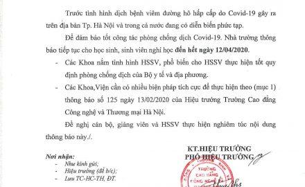 Thông báo V/v tiếp tục cho sinh viên nghỉ học để phòng dịch Covid-19
