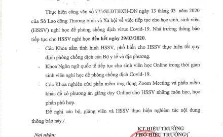 Thông báo V/v tiếp tục cho sinh viên nghỉ học để phòng chống dịch virus Covid-19